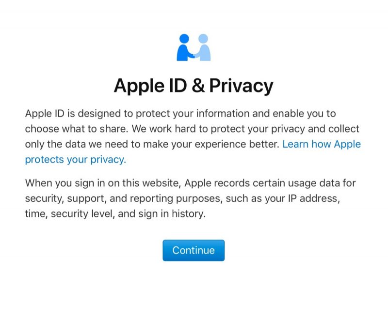 Apple ID and Privacy page