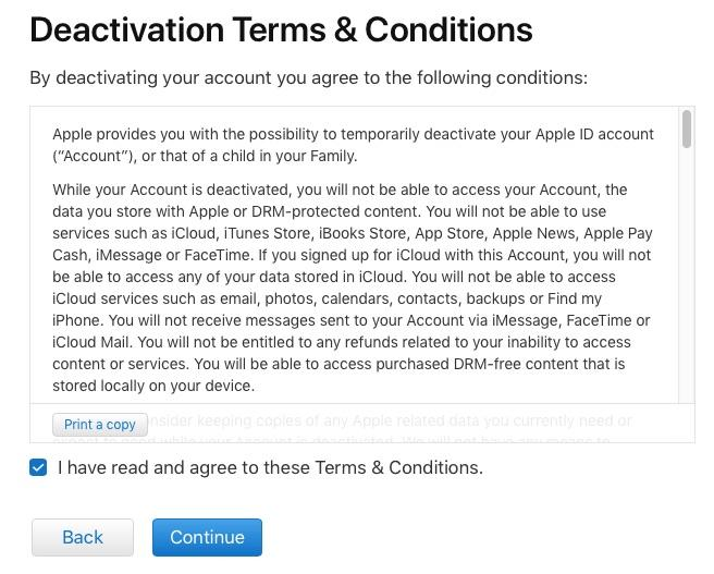 Deactivation Terms and conditions