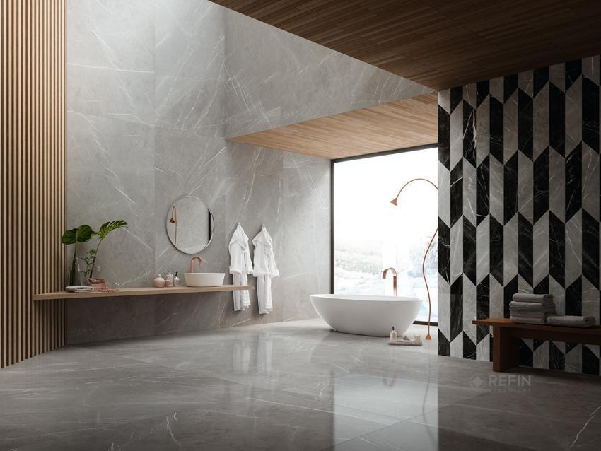 Stoneware Tiles for Luxury Bathroom Walls.